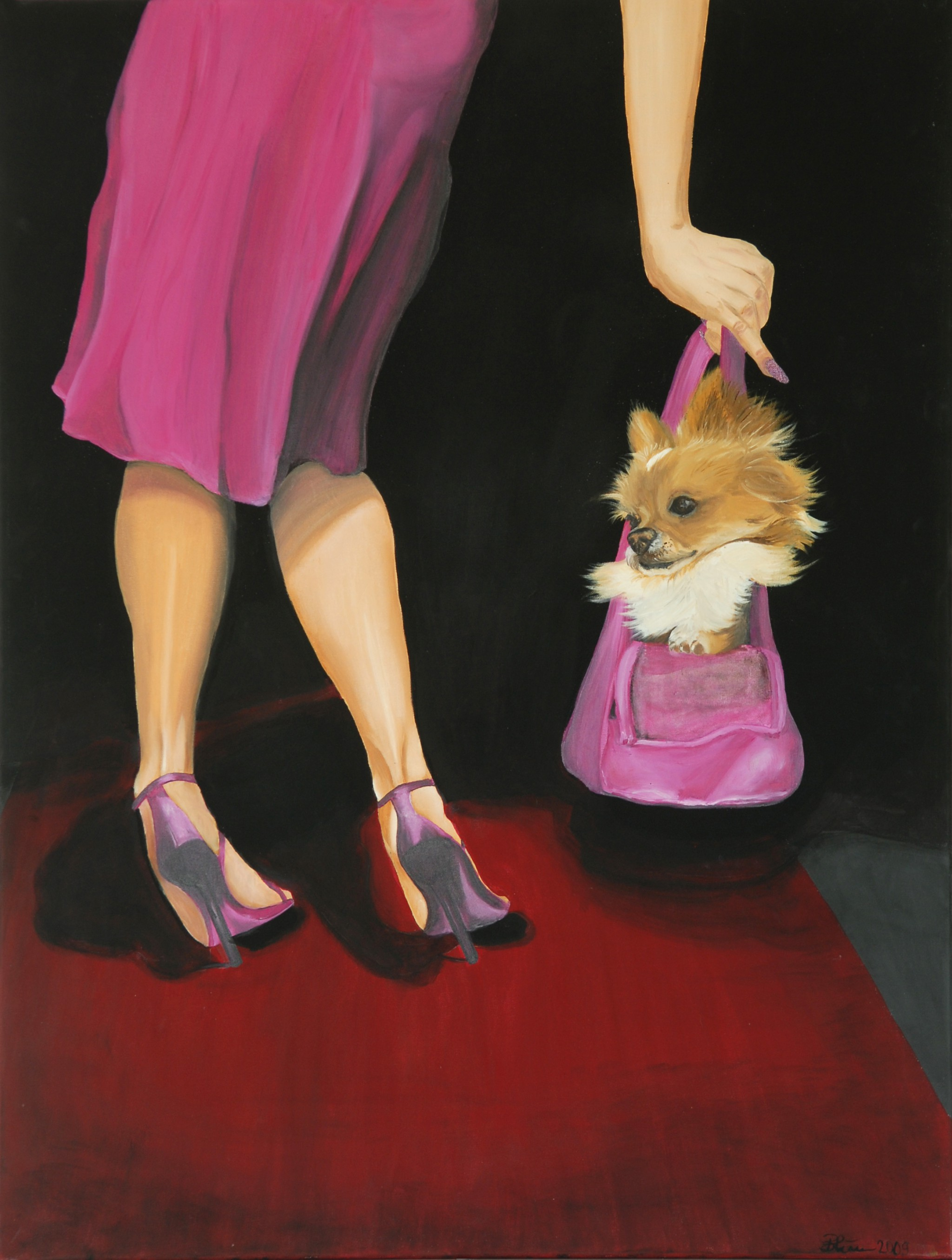 Dog on Red Carpet, 2009, Öl/Acryl/Leinwand, 100 x 80 cm