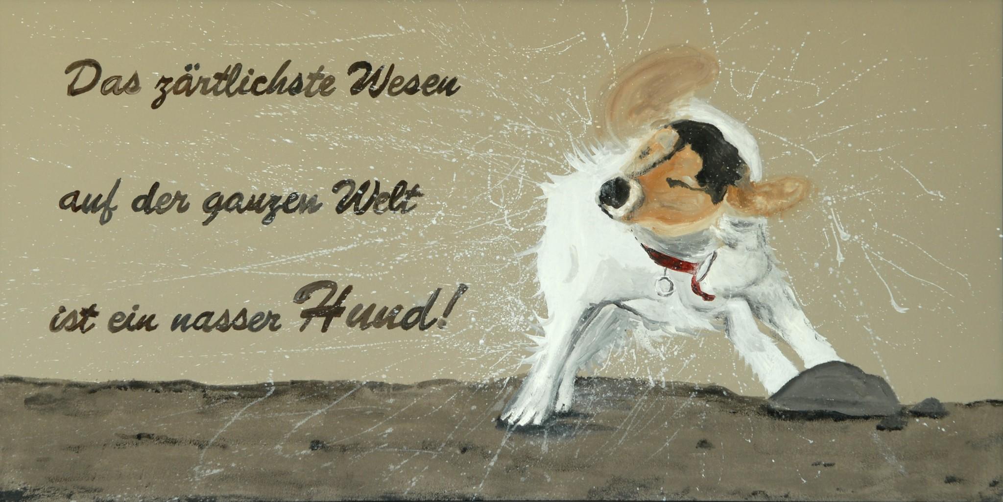 Wet Dog, 2012, Acryl/Öl/Sand/Holz, 140 x 75 cm