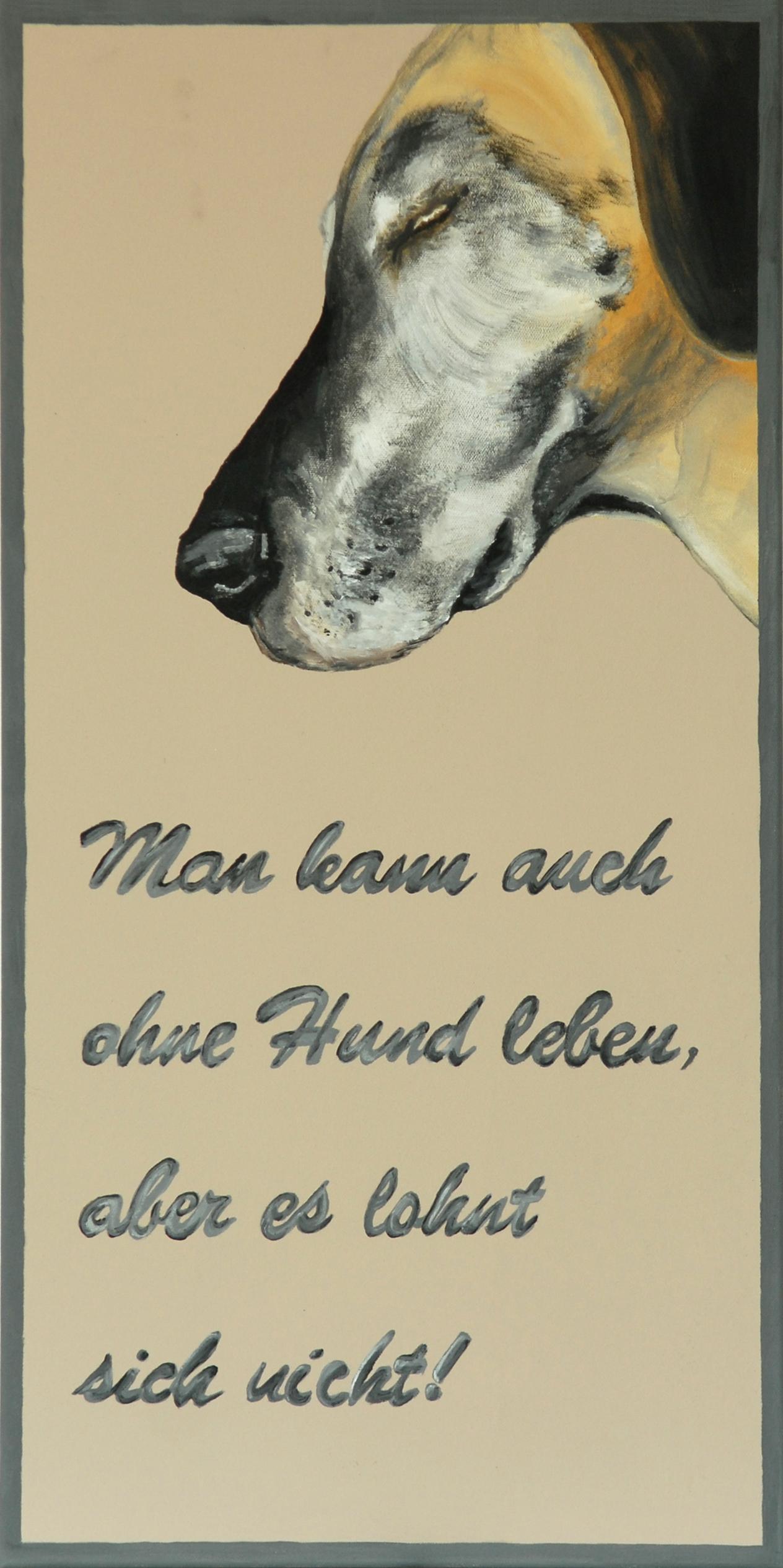 Dog Love, 2012, Öl/Leinwand, 80 x 40 cm, verkauftt