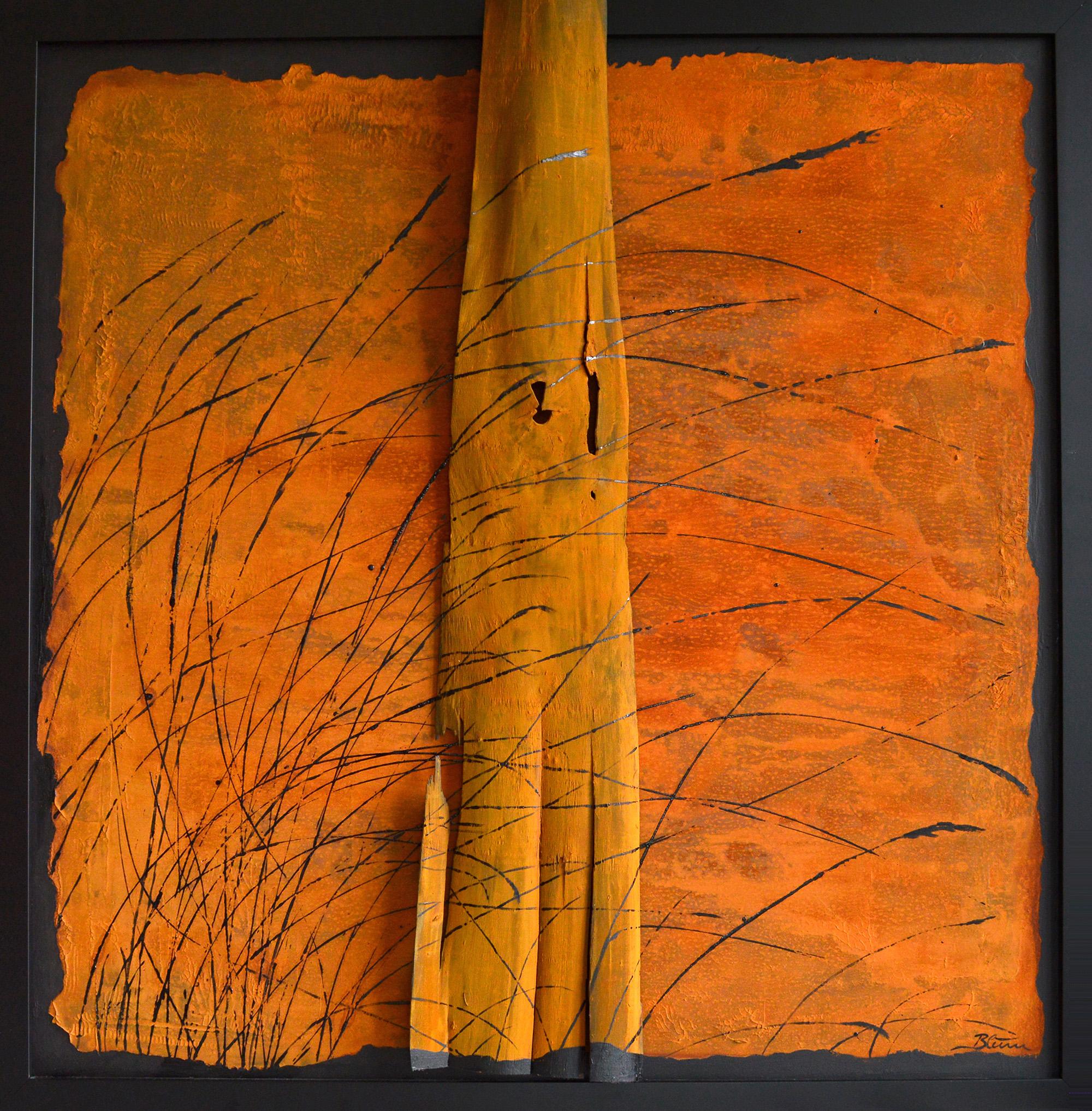 Barfuß, 100 x 100 cm, Rost, Holz, Lack/Holz