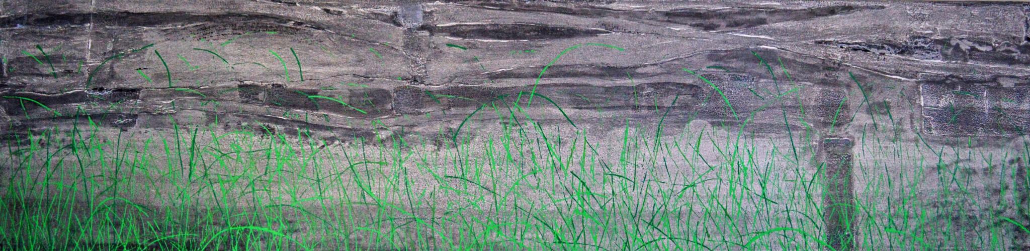 Öl/Lack/Patina/Rinde/Strukturpaste/Leinwand, 200 x 50 cm