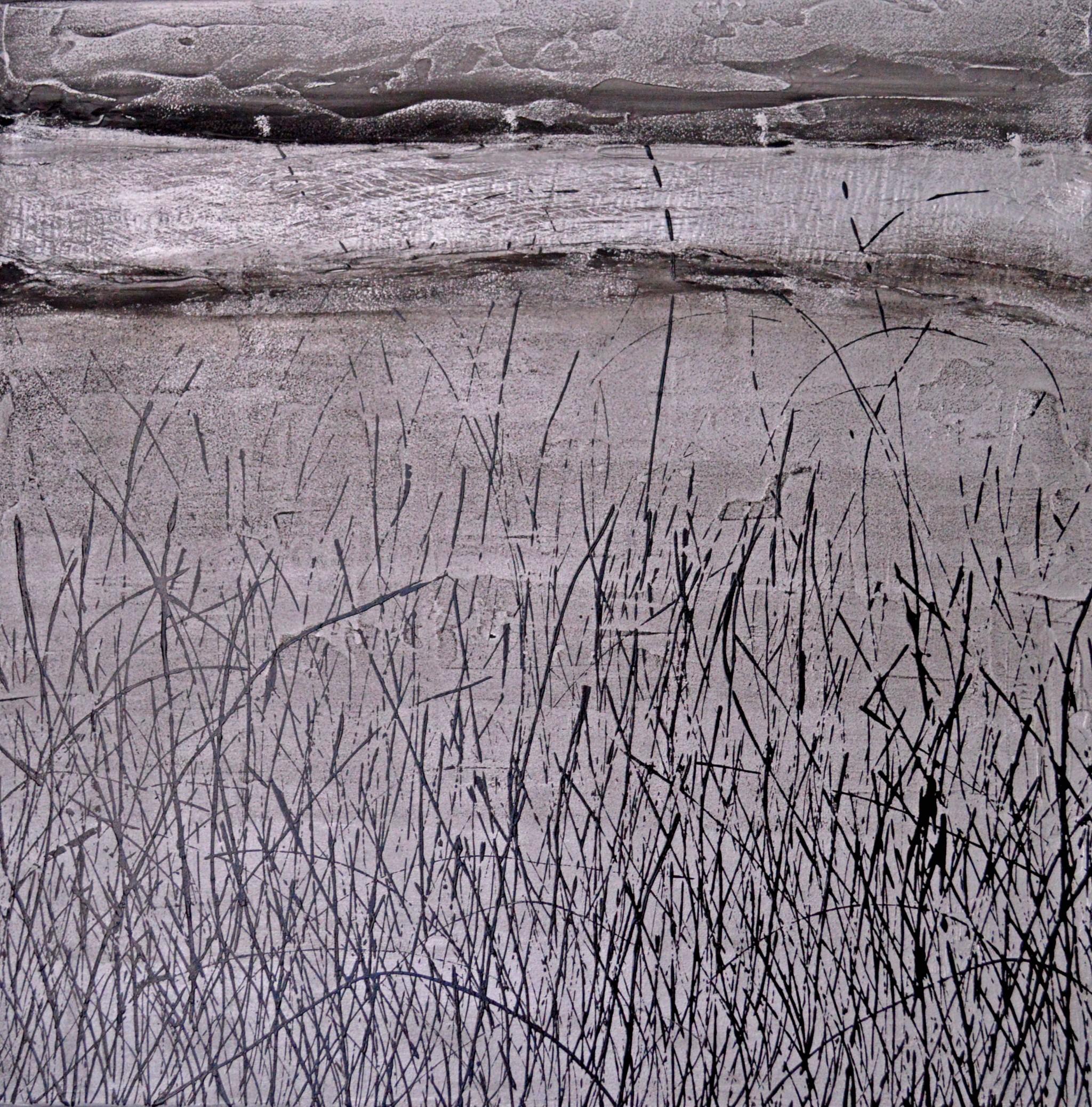 Öl/Lack/Strukturpaste/Rinde/Leinwand, 50 x 50 cm