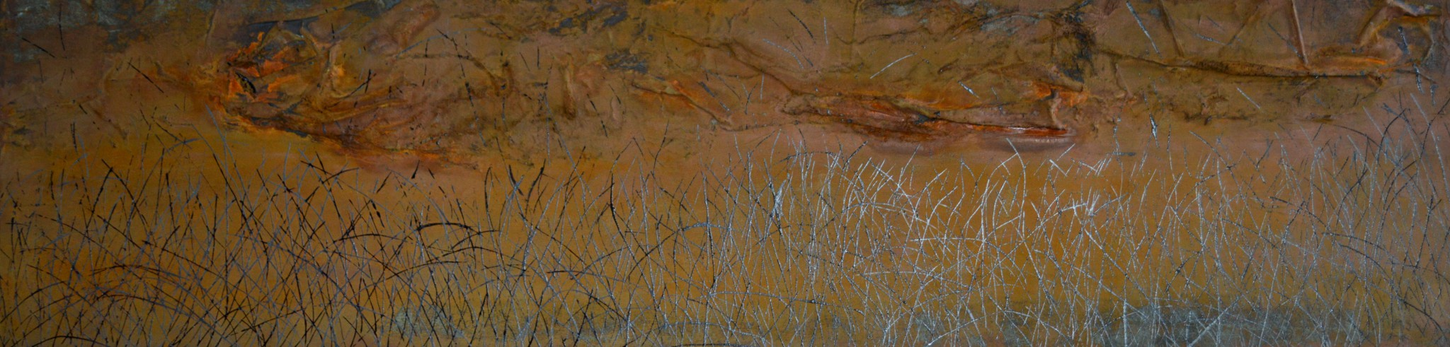 Rost/Lack/Stoffe/Strukturpasten/Leinwand, 200 x 50 cm