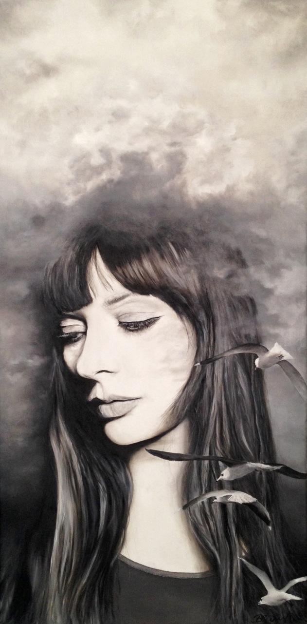 Wolkenfee und Meerjungfrau, Öl/Leinwand, 120cm x 60 cm